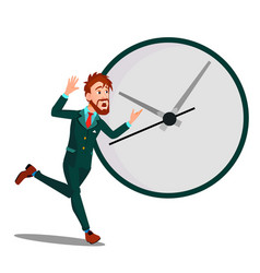 running businessman with huge clock time vector image