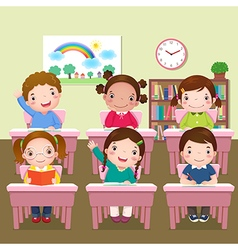 School kids studying in classroom vector