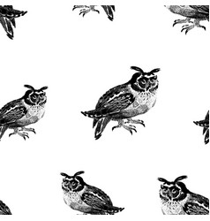 seamless pattern owls sketches vector image
