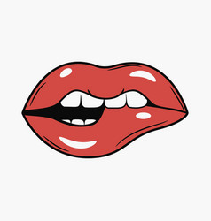 sexy female bite lips vector image