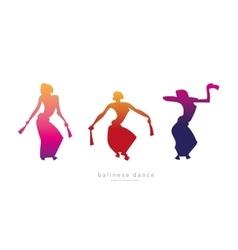 Silhouette girls dancing Balinese dance vector