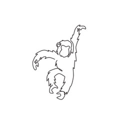 Single continuous line drawing cute jumping vector