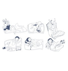 Sketch Sleeping Kids Set vector