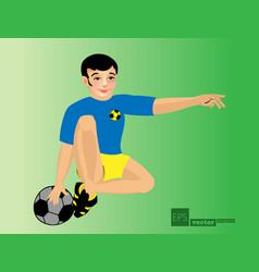 Soccer player kicks ball vector