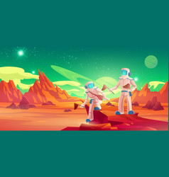 spacemen with flags walking on mars surface vector image