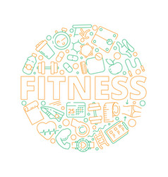 sport circle background fitness symbols in round vector image