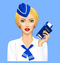 stewardess with passport and air ticket in hand vector image