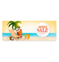 Summer sale banner with a beach vacation vector