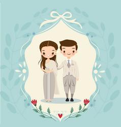 Thai bride and groom on wedding invitations card vector