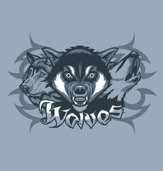 three wolves attacking howling and stalking vector image