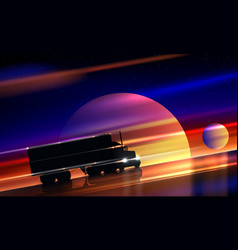 Truck rides on highway in space classic big vector