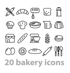 twenty bakery icons collection vector image