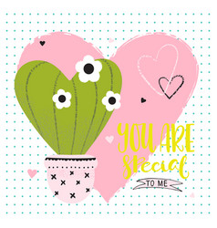 valentines day funny card with cactus vector image