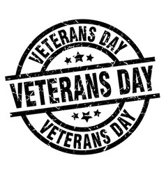 Veterans day round grunge black stamp vector