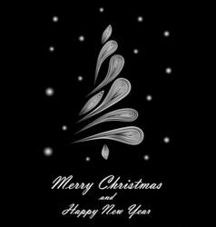 white elegant christmas tree on black background vector image