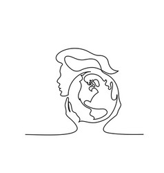Woman holds globe earth in hands continuous vector