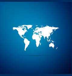world map icon isolated on blue background vector image