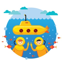 Yellow Submarine with Kids Diving vector image