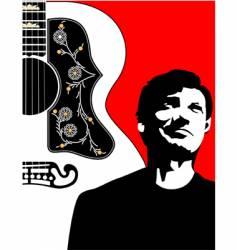 acoustic guitar-bg-w-guy vector image vector image