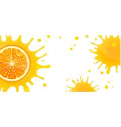 banner with orange and splash juice vector image
