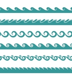 Blue ocean wave symbols isolated on white vector image vector image