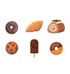 chocolate sweet dessert icons organic food vector image