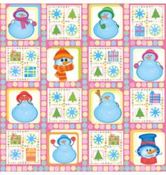 Christmas background funny snowmen vector image vector image