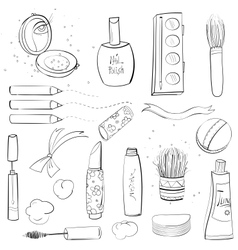Makeup Set Sketch Drawing vector image vector image