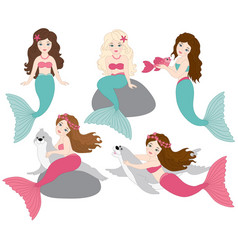 set of beautiful mermaids vector image vector image