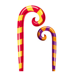 striped candy canes icon cartoon style vector image