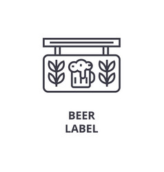 beer label line icon outline sign linear symbol vector image vector image