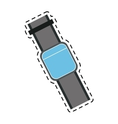 blue smart watch wearable technology line vector image