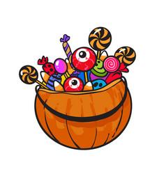 halloween pumpkin basket vector image