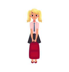 student girl in school uniform holding backpack vector image vector image