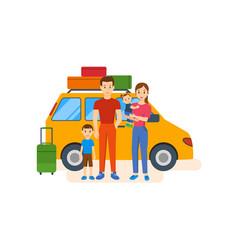 Young family with children go on a trip by car vector