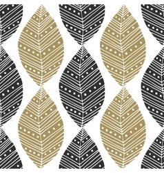 Bohemian seamless pattern with black and gold vector image