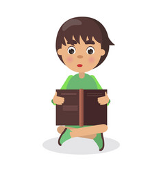 boy sits in yoga pose with open book and read vector image vector image