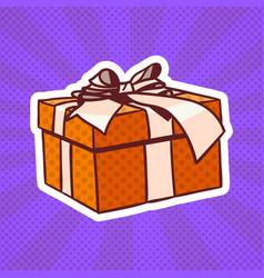 gift box pop art retro style of realistic present vector image vector image