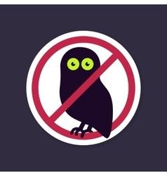 No Ban or Stop signs Halloween owl icon vector image