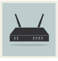 Wi-Fi Router on Blue Retro Background vector image vector image