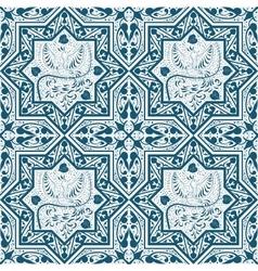 Arabic Blue Seamless Pattern with bird Phoenix vector image