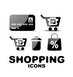 Black glossy shopping icon set vector image