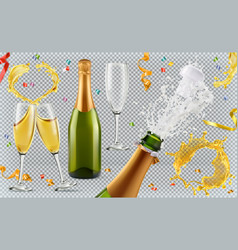 champagne glasses bottle splash 3d realistic icon vector image vector image