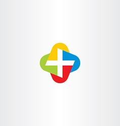 colorful cross medical symbol logo icon vector image