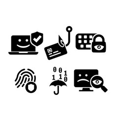 cyber security icon set in bw vector image vector image