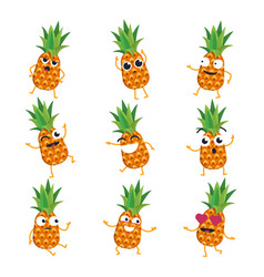 pineapples - isolated cartoon emoticons vector image vector image