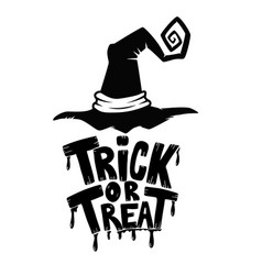 trick or treat hand drawn lettering phrase with vector image vector image