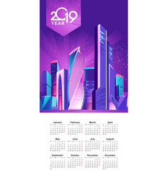 2019 calendar night city vector image