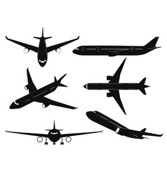 airplane silhouettes passenger aircraft in vector image