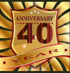 Anniversary 40 th label with ribbon vector
